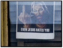 jesus sticking up the middle finger